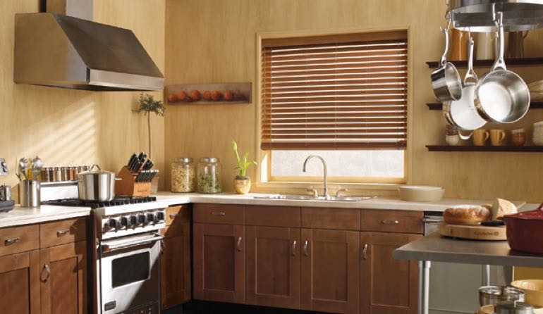 Texas faux wood blinds kitchen